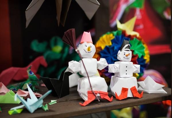 Bonhomme de neige en origami