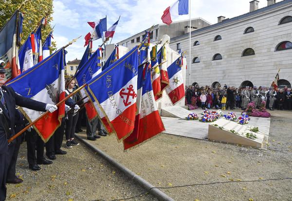 Centenaire de l'armistice de la première guerre mondiale 14-18 en présence des officels et de M. Le Maire.